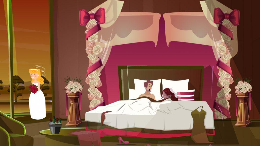 """Illustration des Theaterstücks """"Traumhochziit"""" - eine Neubearbeitung von Rolf Brunold und Atréju Diener des Komödienklassikers """"Perfect Wedding"""" von Robin Hawdon."""