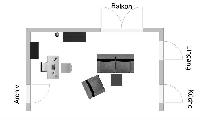 """Visualisierung des Bühnenbilds des Theaterstücks """"Hesch en Vogel"""". Eine Komödie in drei Akten von Atréju Diener."""