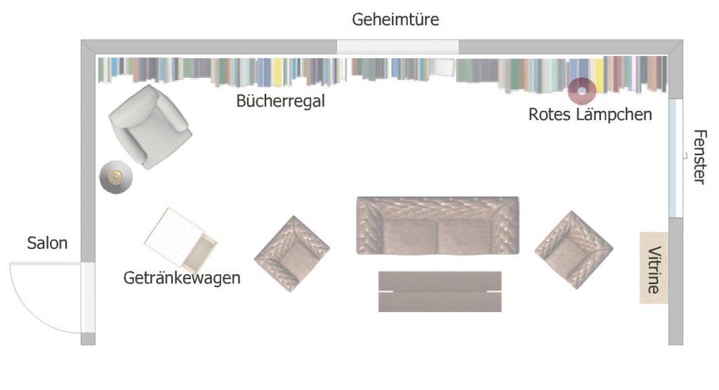 """Visualisierung des Bühnenbilds des Theaterstücks """"Der Hexer"""". Eine Krimikomödie von Atréju Diener nach dem Krimi-Klassiker von Edgar Wallace."""