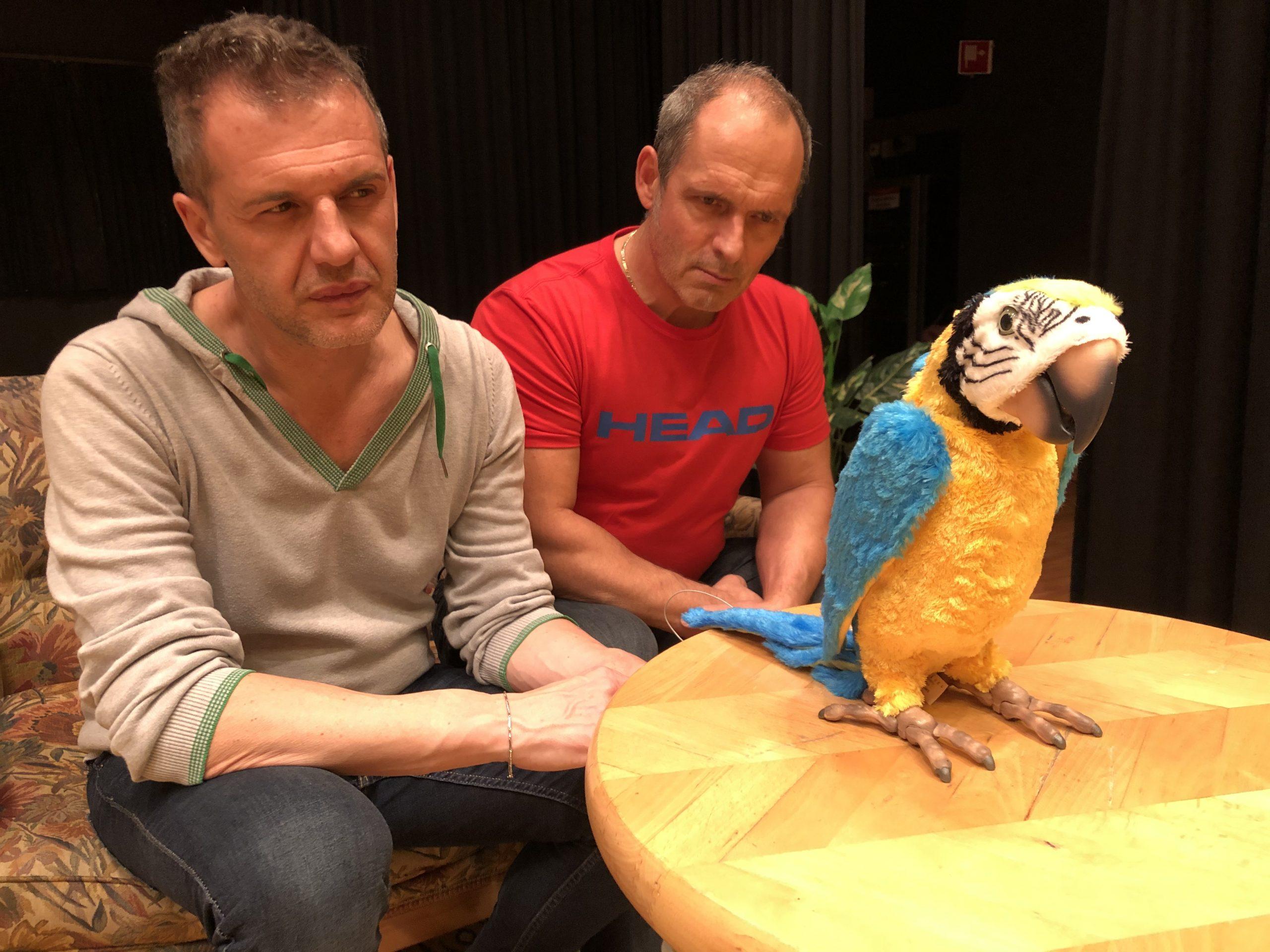 """Probebild der Theatergruppe Friesenbergs zur Komödie """"Hesch en Vogel?"""" von Atréju Diener."""